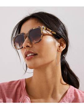 Tortoiseshell Print Modern Square Sunglasses by Loft