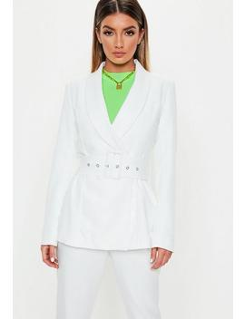 White Long Belted Waist Blazer by Missguided