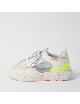 White Mesh Panel Lace Up Runner Trainers by River Island