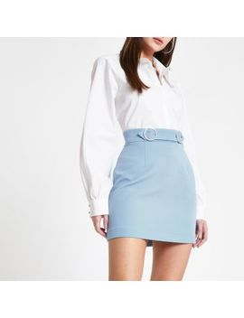 Blue Rhinestone Trim Mini Skirt by River Island