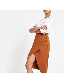 Brown Button Wrap Pencil Skirt by River Island