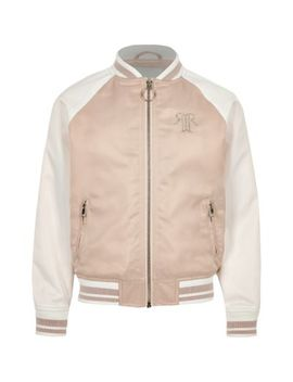 Girls Pink Block Satin Bomber Jacket by River Island