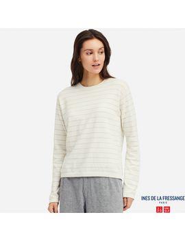 Cotton Cashmere Striped Crew Neck Sweater by Uniqlo
