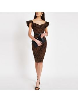 Brown Tiger Print Bodycon Midi Dress by River Island