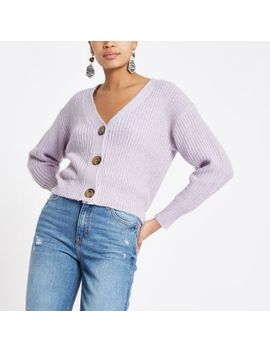 Lilac Horn Button Knit Cardigan by River Island