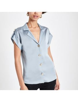 Blue Short Sleeve Utility Shirt by River Island