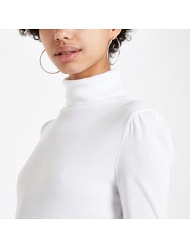 White Puff Sleeve Turtle Neck Top by River Island