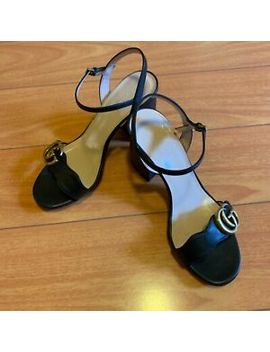 Gucci Marmont Double G Sandals Women Size Gucci 36 Us 6 Black  Leather Heels by Gucci