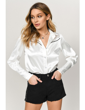 Billy Ivory Puff Sleeve Satin Top by Tobi