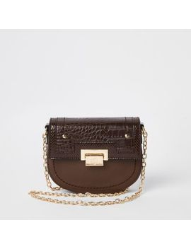 Brown Saddle Lock Front Chain Cross Body Bag by River Island