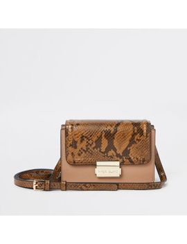 Beige Snake Print Panel Mini Cross Body Bag by River Island