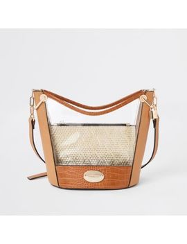 Beige Woven Perspex Bucket Bag by River Island