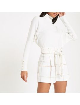 Cream Check Tie Waist Shorts by River Island