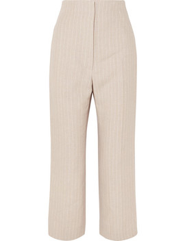 Arthur Pinstriped Linen Straight Leg Pants by Racil