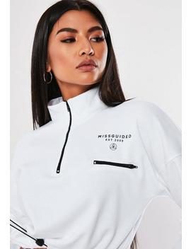White Slogan Crop Sweatshirt by Missguided