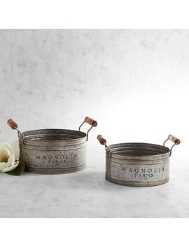 Magnolia Home Galvanized Gathering Pans Set by Magnolia Home By Joanna Gaines Collection