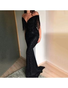 Women Sexy Bodycon Evening Party Long Tassel Dress Cocktail Dress Prom Ball Gown by Unbranded
