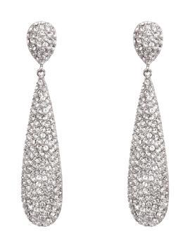 Elongated Pavé Swarovski Crystal Teardrop Earrings by Nina