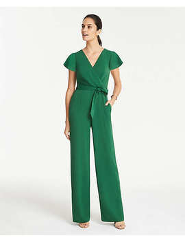 Tall Flutter Sleeve Wrap Jumpsuit by Ann Taylor