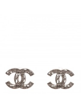 Chanel Tweed Effect Cc Earrings Gold by Chanel