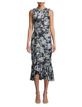 Mirna Floral Print Flounce Cocktail Dress by Cinq A Sept