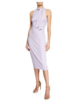 Sleeveless Tie Neck Sheath Dress by Badgley Mischka Collection