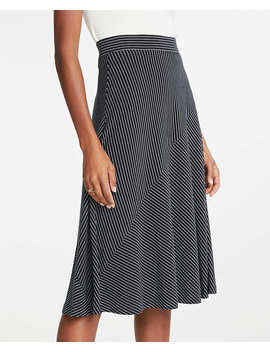 Stripe Seamed Knit Full Skirt by Ann Taylor