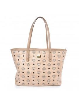 Mcm Visetos Medium Anya Shopping Tote Beige by Mcm
