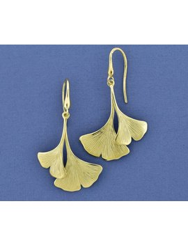 14k Double Ginkgo Leaf Earrings, Nature Inspired Solid Yellow Gold Leaf Dangles by Etsy