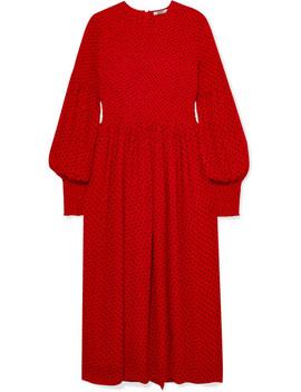 Smocked Polka Dot Crepe De Chine Midi Dress by Ganni