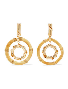 Mamba Gold Tone Bamboo Earrings by Rosantica