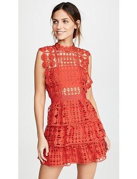 Red Floral Lattice Lace Dress by Self Portrait