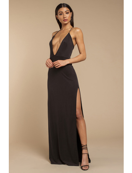 Wild One Wine Plunging Maxi Dress by Tobi