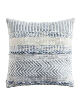 "Farmhouse Stripe 18"" Square Mineral Blue Pillow by Pier1 Imports"