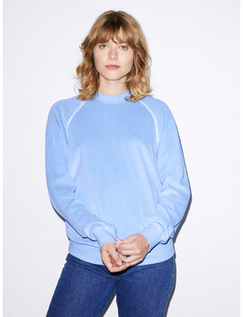 Unisex Stretch Velour Long Sleeve Raglan Crew by American Apparel