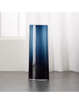 Ionia Tall Blue Glass Vase by Crate&Barrel