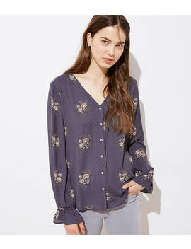 Bouquet Bell Cuff Button Front Blouse by Loft