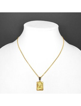 """<Span Data Inner Title="""""""">18k Gold Filled Initial Medallion Letter Pendant Necklace Square Rectangle With Chain Custom Name Personalized</Span> by Etsy"""