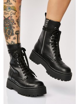 Karma Police Combat Boots by Current Mood