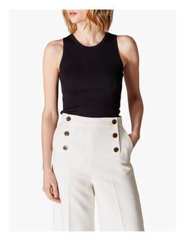 Karen Millen Ribbed Tank Vest Top, Black by Karen Millen