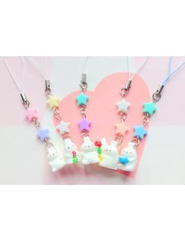 Molang, Bunny Phone Charm, Kawaii Pastel Stars Phone Strap, Fairy Kei, Sweet Lolita, White Rabbit Charm, Anime Style, Animal Lovers, by Etsy