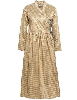 Hermione Metallic Gingham Poplin Wrap Dress by Shrimps