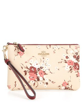 Signature Coated Canvas Floral Bundle Print Small Zip Wristlet by Coach