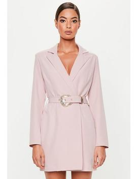 Peace + Love Pink Belted Blazer Dress by Missguided