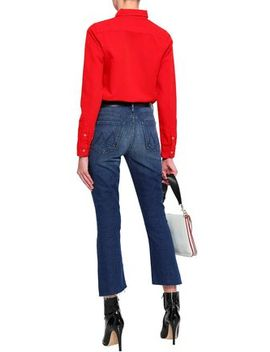 Cropped Faded High Rise Slim Leg Jeans by Mother
