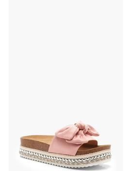 Bow Detail Cleated Flatforms by Boohoo