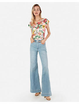 Floral Satin Twist Neck Gramercy Tee by Express