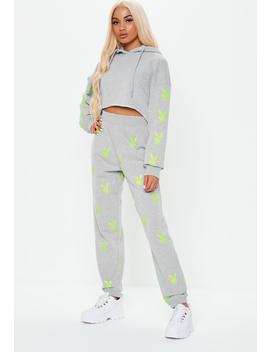 Playboy X Missguided Grey Repeat Print Joggers by Missguided