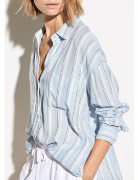 Textured Stripe Boxy Long Sleeve by Vince