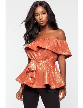Leopard Foil Off Shoulder Top by A'gaci